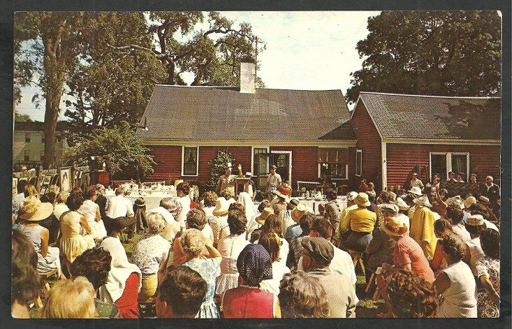 Postcard from the 1960's of an outdoor auction