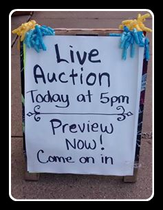 Live Auction Preview Sign